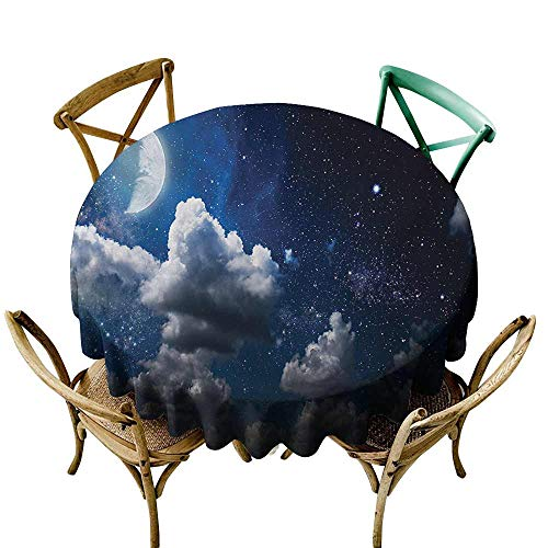Round Tablecloth Plastic Clouds,Celestial Solar Night Scene Stars Moon and Clouds Heaven Place in Cosmos Theme,Dark Blue White D36,Round Tablecloth ()