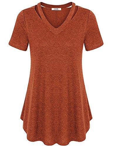 [Pleated Shirt for Women,Vivilli Women's Casual Basic T Shirts Handkerchief Hem Flowy Flare Top(Rust,X-Large)] (Blouse Fitting)