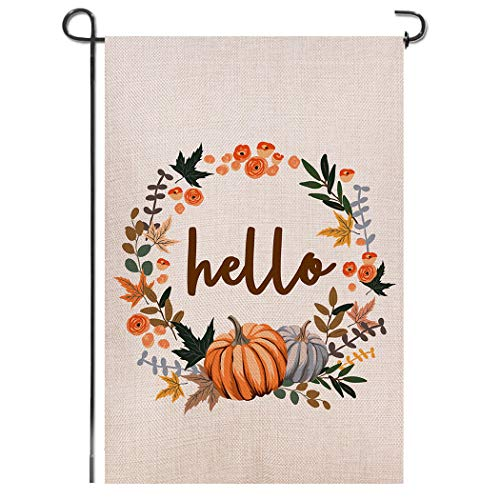 Shmbada Hello Fall Thanksgiving Day Welcome Double Sided Burlap Garden Flag, Premium Material, Seasonal Holiday Outdoor Decorative Small Flags for Home House Garden Yard Lawn Patio, 12.5 x 18.5 inch (Fall Hello)