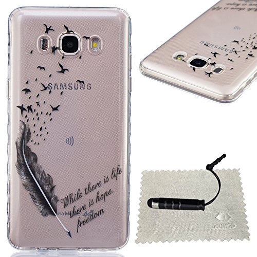 [Extremadamente Delgada] Funda 3D Silicona Transparent para Samsung Galaxy J5 (2016) J510 ,Funda TPU Ultra Slim para Samsung Galaxy J5 (2016) J510 , TOCASO Case Fina Slim Fit Cristal Clear, Transparen Plumas de Aves