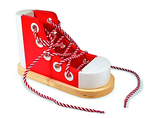 Melissa & Doug Deluxe Wood Lacing Sneaker - Learn to Tie a Shoe Educational - Independence Usa Day Offers