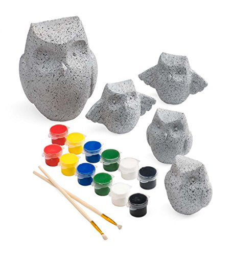 Color Pops Paint-Your-Own Pet Rocks, Creative Arts and Crafts Painting Kit for Kids - Owls (Art Pet Pop)