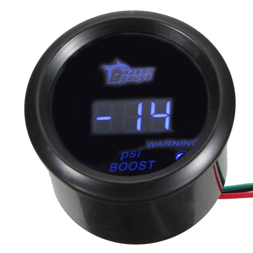 ESUPPORT Car 2'' 52mm Digital Turbo Boost Gauge PSI Blue LED Universal Meter Kit