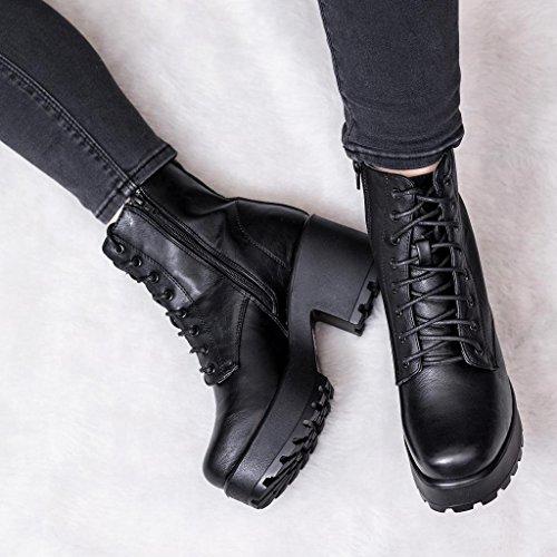SPYLOVEBUY Shotgun Mujer Cordone Tacón Bloque Botes Bajas Zapatos: Amazon.es: Zapatos y complementos