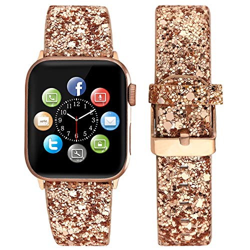 Sparkle Glittery - Doweiss Compatible for Apple Watch Series 4 Bands,Sparkle Glittery Replacement Wristbands for Women Luxury with Rose Gold Buckle and Adapter Compatible for iWatch 1/2/3/4