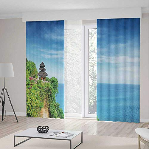 iPrint Balinese Decor Blackout Curtain,Uluwatu Temple Bali Indonesia Seacoast Cliff Horizon Summer Seascape Nature Picture,Window Drapes 2 Panel Set, Living Room Bedroom,118 W 106 L,Blue Green