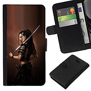 YiPhone /// Tirón de la caja Cartera de cuero con ranuras para tarjetas - ASIÁTICO diosa guerrera - Sony Xperia M2