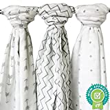 Ziggy Baby Muslin Swaddle Blankets, 47x47 (3 Pack) Chevron, Arrow, Cross, Grey/White