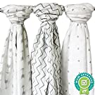 Ziggy Baby Muslin Swaddle Blanket Set, Grey/White, 3 Pack