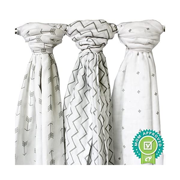Ziggy Baby Muslin Swaddle Blankets, 47×47 (3 Pack) Chevron, Arrow, Cross, Grey/White