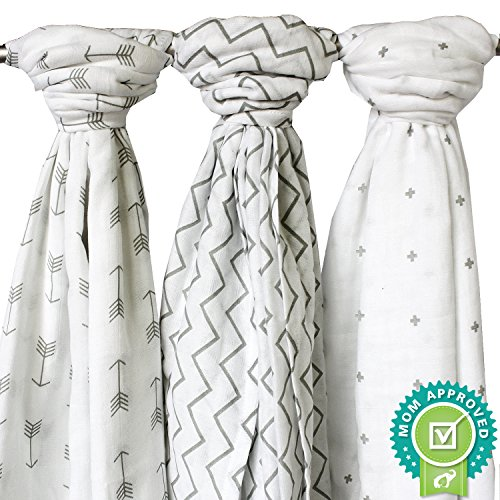 Ziggy Baby Muslin Swaddle Blankets, 48x48, Arrow, Cross, Grey/White, 3 Pack