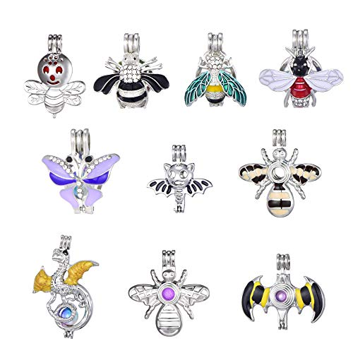 10pcs Bees, Butterflies, Dragons, Bats, Flying Enamel Diamond Pearl Cage Jewelry Making Supplies Rhodium Plated Bead Cage Pendant/for Oyster Pearls, Essential Oil Diffuser, Fun Gifts (Style 2) ()
