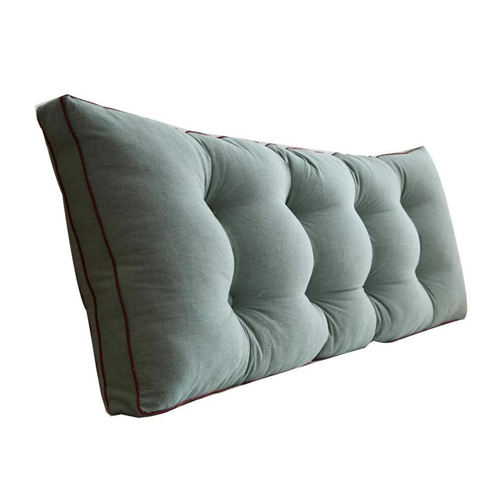 LIXIONG Bed Backrest Cushion Triangular Cotton Bedside Cushions Soft Case Waist Pad Sofa Pillow Single Or Double Washable, 4 Colors, 5 Sizes (Color : Dark Green, Size : 100cm)