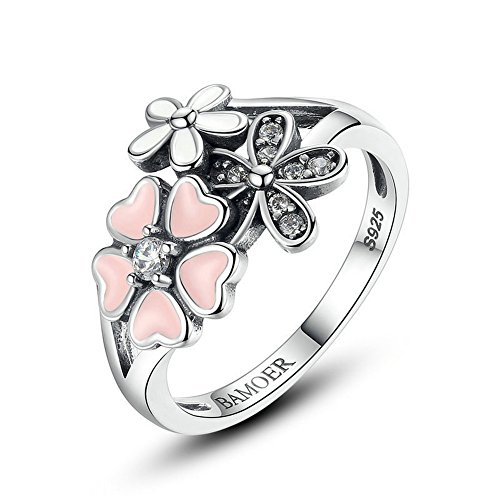 [PSRINGS 925 Sterling Silver Poetic Daisy Cherry Blossom Wedding Rings Compatible With WOS Ring Jewelry Lover] (Ninja Turtle Nose Costume)