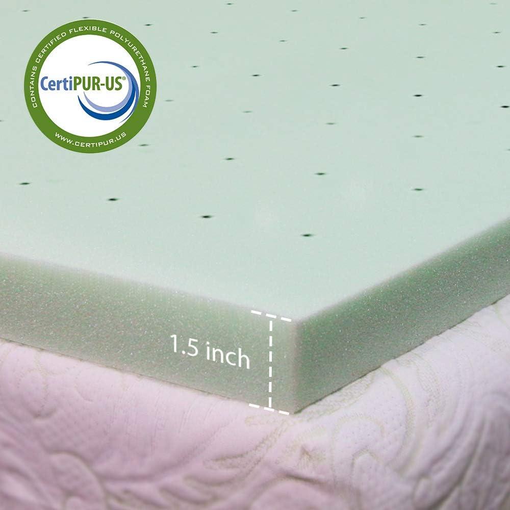 1 5 Inch Memory Foam Mattress Topper Twin Size For Dorm Green Tea Ventilated Design Home Kitchen