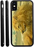 Rikki Knight Beautiful Lion King Close-Up Design iPhone X Hybrid TPU Case Cover (Black Rubber with Front Bumper Protection) for iPhone X
