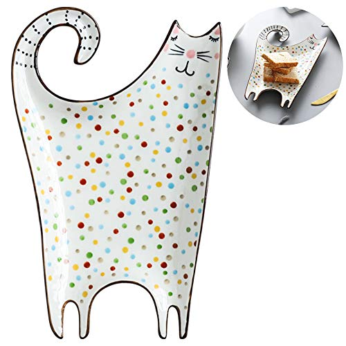 Appetizer Plates Cookies Jewelry Trays Dessert Platter Small Serving Plates Cereal Sauce Bowl Great for Wedding Baby Shower Party Housewarming Gift (Cat Shaped Plate) (Cat Serving Tray)