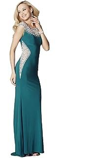 Tiffanys Illusion Prom Teal Izzy Beaded Neckline Prom Dress