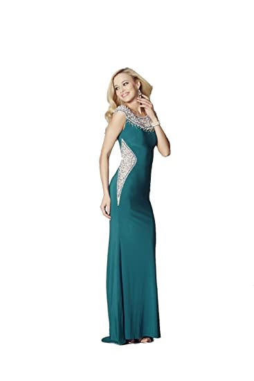 Tiffanys Illusion Prom Teal Izzy Beaded Neckline Prom Dress UK 10 (US 6)