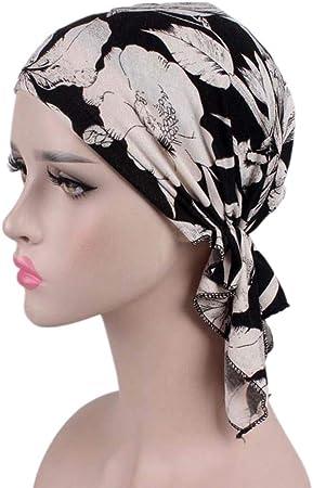 TININNA Turbante elástico de algodón y bambú para pérdida de Cabello,Mujer Cancer Pañuelos Cabeza Musulmán Impreso Algodón Headwear para Pérdida De Cabello,Cáncer, Quimioterapia: Amazon.es: Hogar