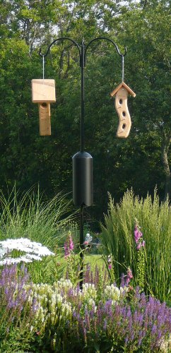 Kettle Moraine Squirrel Proof 2 Arm Bird Feeder Pole Set with Baffle & Twister Ground Socket