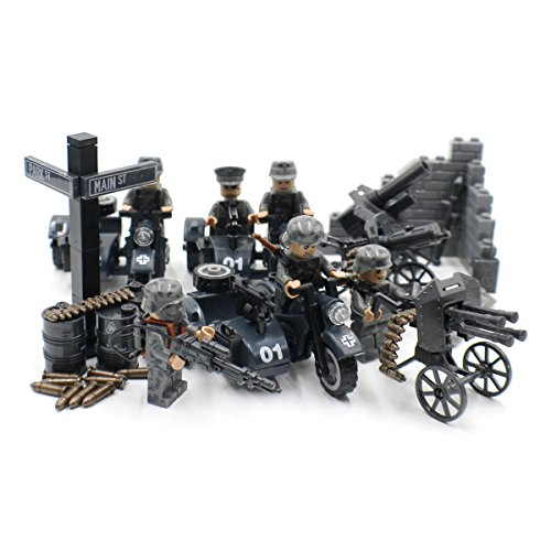 WW2 German Soldiers with Sidecars and Artillery - Military Building Block - German Army Motorcycles