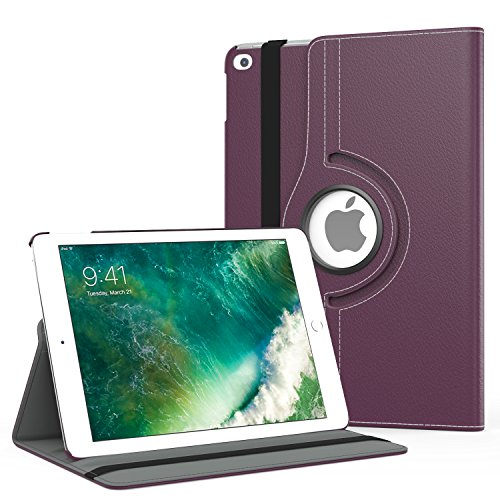 - MoKo Case Fit 2018/2017 iPad 9.7 6th/5th Generation - 360 Degree Rotating Cover Case with Auto Wake/Sleep Compatible with Apple iPad 9.7 Inch 2018/2017, Purple