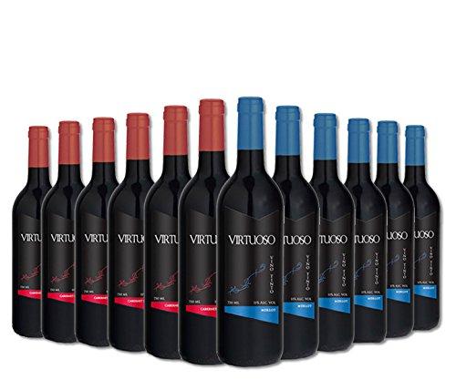 Selección Premium de 12 botellas de vino tinto Virtuoso: 6 Merlot + 6 Cabernet Sauvignon: Amazon.es: Alimentación y bebidas