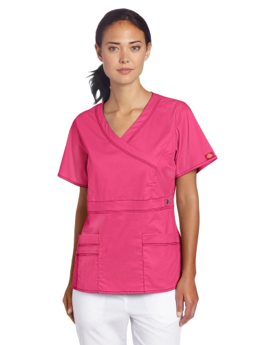 Dickies Scrubs Women's Gen Flex Junior Fit Contrast Stitch Mock Wrap Shirt, Hot Pink, X-Small