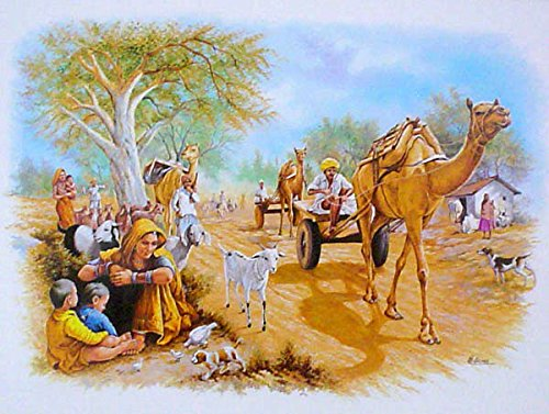 Village Scene Indian Poster/ Art of India: Reprint on Paper