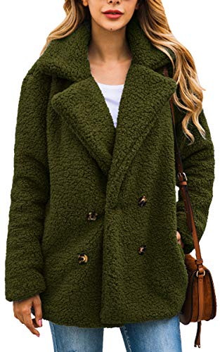 ECOWISH Womens Double Breasted Lapel Open Front Fleece Coat with Pockets Outwear Army Green L