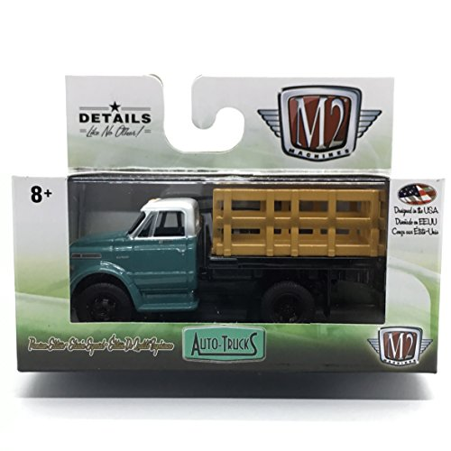 - M2 Machines 1970 Chevrolet C60 Truck (Medium Green & Bright White) - Auto-Trucks Series Release 46 2018 Castline Premium Edition 1:64 Scale Die-Cast Vehicle (R46 17-87)