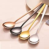 Saibang Stainless Steel Long Soup Spoon Table Spoon Tea Spoons, 8-inch, Set of 5 (Rose Gold)