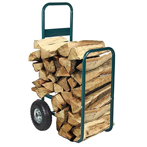 Livebest Portable Firewood Cart Log Fire Wood Carrier Holder Transport Rolling Steel Backyard Patio Garden, Green Fire Wagon Garden