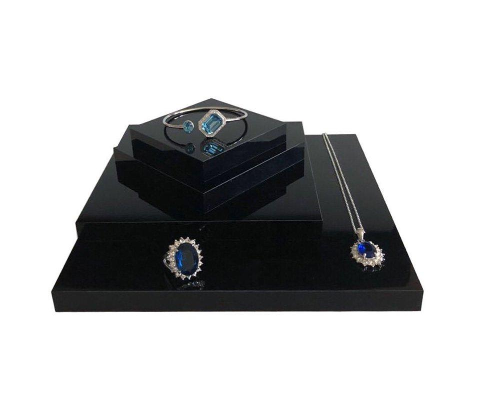 Fine Jewelry Display Platform Block Black Premium Acrylic Necklace Ring Earrings Precious Stones Photography Exhibition Art (Set of4) by Svea Display (Image #2)