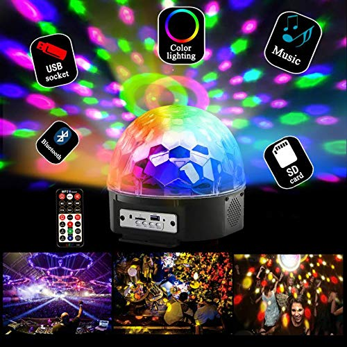 Bluetooth Disco Ball Lights, 9 Colors LED Party Lights DJ Sound Activated Rotating Lights Wireless Phone Connection with Bluetooth Speaker MP3 Play and Remote for Home KTV Wedding Dance Show by Allness Group (Image #2)