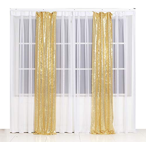 Poise3EHome 2ft x 8ft Sequin Photography Backdrop Curtain 2 Panels for Party Decoration, Golden -