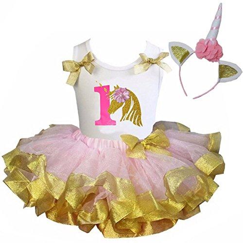 Kirei Sui Pink Gold Satin Trimmed Tutu & 1st - 6th Birthday Blue Unicorn Set
