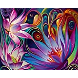 5D DIY Diamond Painting Kit, Crystal Rhinestone Diamond Embroidery Paintings Pictures Arts Craft for Home Wall Decor, Full Drill - Lotus