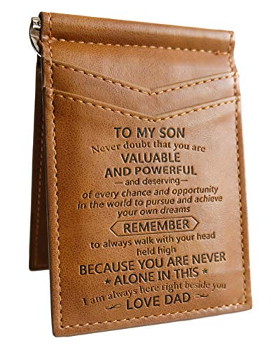 New Card Holder Bifold Wallet Gift for Son Slim Wallet with Money Clip RFID Blocking Card Mini Bifold