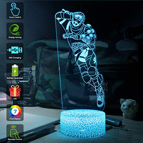 Koyya 3D Night Light Changeable LED Table Lamp 3D Illusion Light Touch Switch Remote Control- USB Power/7 Colors Light Decorative Bedside Table Lamp for Kids Room for Birthday Holiday Gift