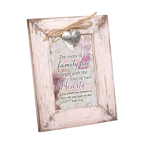 Cottage Garden Family Tree Begins Two Heart Blush Pink Distressed Locket Easel Back Picture Frame from Cottage Garden