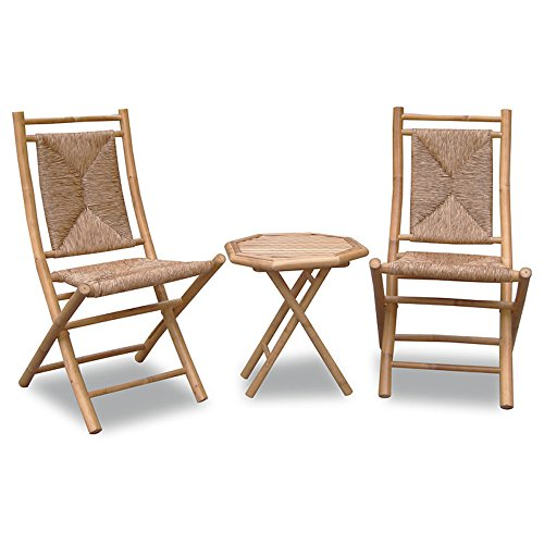 Heather Ann Creations 3-Piece Bamboo Bistro Set with Triangle Weave, Natural Review