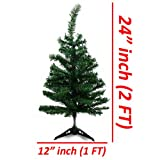 Wideskall Tabletop Green Christmas Pine Tree with Multi-Color 30 LED Lights, 2 Feet
