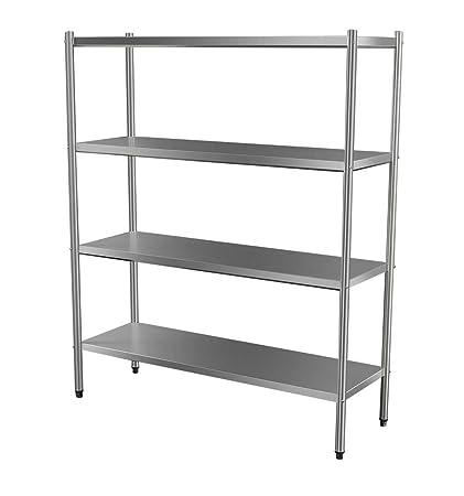 Custom Stainless Steel 4 Tier Solid Storage Rack (Size : 1650x450x1800)