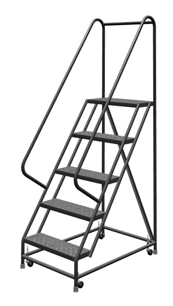 Tri-Arc KDSR105246 5-Step Steel Rolling Industrial and Warehouse Ladder with Handrails and 24'' Wide Perforated Tread