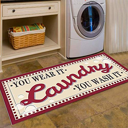 USTIDE Laundry Room Novelty Vintage Inspired Non Skid Laundry Room Floor Mat Accent Rug,Red (Rug Floor Accent)