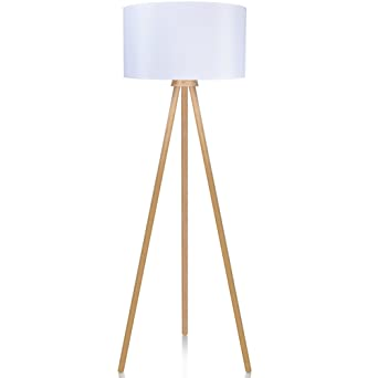 Lepower wood tripod floor lamp modern design nature rubber wood lepower wood tripod floor lamp modern design nature rubber wood standing light with e26 aloadofball Choice Image