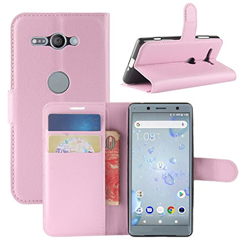 Genuine Sony HualuBro for XZ2 Wallet Cover Case Compact Credit Black Xperia Card ID Wallet with Pink Protective Leather Slots Handmade Phone Sony Flip Xperia Case XZ2 Compact xHBXRW8H