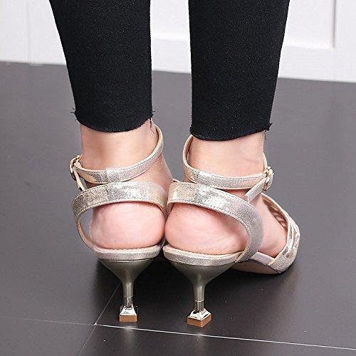La Sandalias Vacía Sugerencia Zapatos 5Cm Verano Seguido 5 Multa GTVERNH Puntilla Con Tacones De Mujer Expuesta Gold De OxwnXH